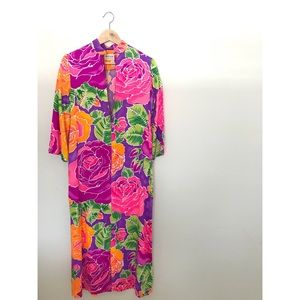 Vintage Polynesian Floral Maxi Dress